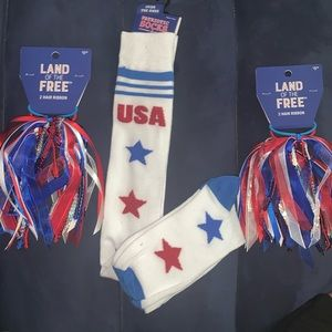 Over the knee USA socks & 2- 2piece hair ribbons